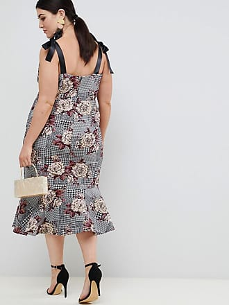 b19b7d39106 Asos Curve ASOS DESIGN Curve midi dress with pep hem in check and floral  print -