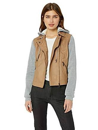 Yoki Womens Sherpa Lined Faux Leather Moto Jacket, Camel, XL