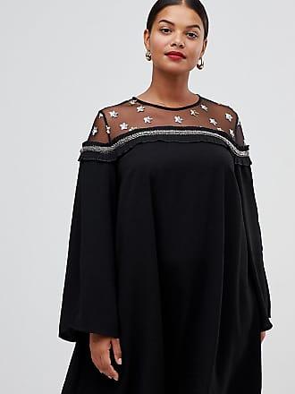 Lovedrobe shift-klänning med axlar i mesh med stjärnor - Svart 6375d6b28ca8b