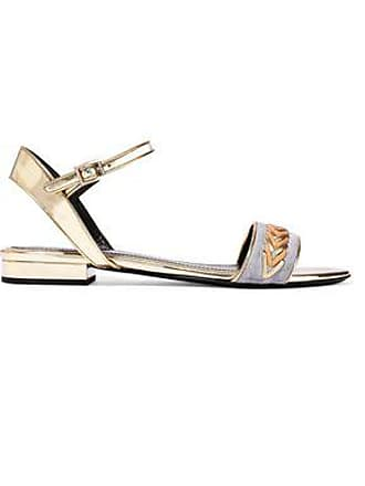 Lanvin Lanvin Woman Whipstitched Suede-paneled Mirrored-leather Sandals Gold Size 37
