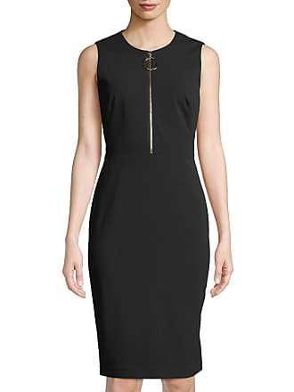 Iconic American Designer Crepe Sheath with Exposed Front Zip