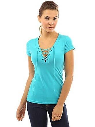 92a22c90f82a03 PattyBoutik Damen V-Ausschnitt stretch Bluse mit kurzen Ärmeln und Schnüren  (türkis 44/