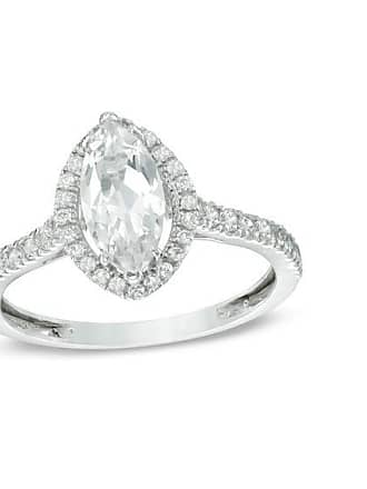 Zales Marquise-Cut Lab-Created White Sapphire Frame Engagement Engagement Ring in 10K White Gold