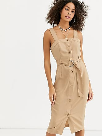 Urban Bliss nicola button through midi dress-Beige