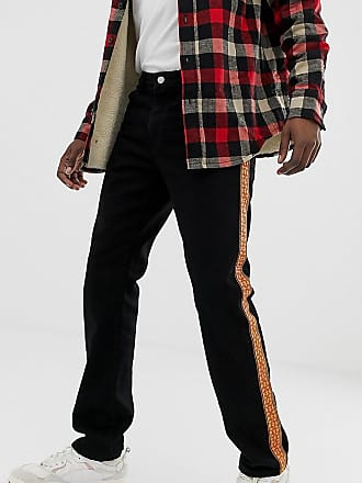 Reclaimed Vintage the 89 original fit jeans with side tape - Black