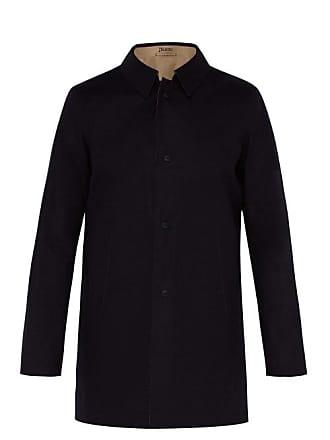 Herno Reversible Lazer Cut Cotton Overcoat - Mens - Navy Multi