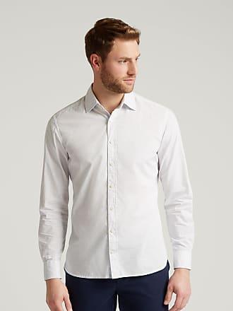 Hackett Mens Micro Geo Logo Print Cotton Shirt   Medium   White/Blue