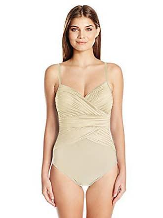 35530825cc184 Gottex Womens Thin Strap Surplice Bra One Piece Swimsuit, Off-White, 8
