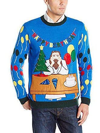 Blizzard Bay Mens Jesus Birthday Ugly Christmas Sweater, Blue/Green, Small