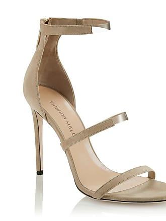 Tamara Mellon Reverse Frontline Buff Suede Sandals, Size - 35.5