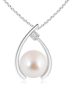 Angara Valentine Day Sale - Akoya Cultured Pearl Wishbone Pendant with Diamond