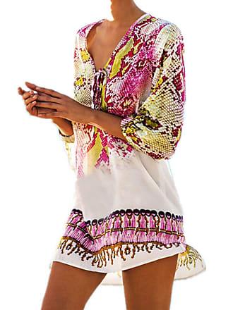 5194978a77fd5 junkai Womens Beach Dress Summer Dresses - Bikini Cover Up Loose Sundress V  Neck Tunic Blouse