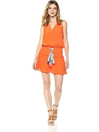 Ramy Brook Womens Bianca Printed TIE Dress, Bright Orange, Medium