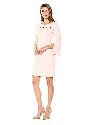 Ivanka Trump Womens Scuba Crepe Long Flare Sleeve with Button Trim Shift Dress, Blush, 2