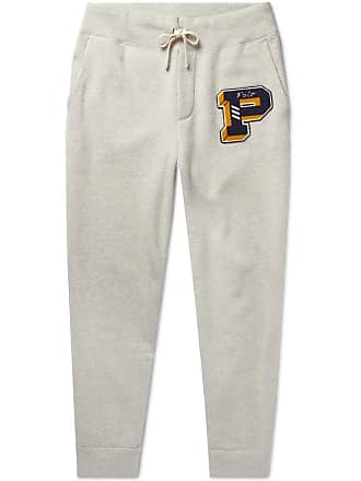 Polo Ralph Lauren Tapered Logo-appliquéd Mélange Fleece-back Cotton-blend Jersey Sweatpants - Gray