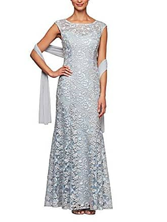 Alex Evenings Womens Long Sleeveless Dress with Beaded Detail Faux Belt and Shawl, Light Blue Lace, 18