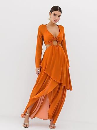 03c848e19aeb Asos Vestito lungo a maniche lunghe e bordi con cerchi - Arancione