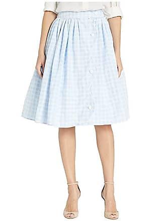 Unique Vintage Gingham Scalloped Button Romero Swing Skirt (Light Blue/White) Womens Skirt