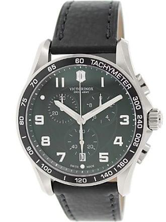 Victorinox by Swiss Army Swiss Army Mens Chrono Classic 241651 Black Leather Swiss Quartz Dress Watch