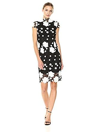 Nicole Miller Womens Fitted lace Dress with Scallop Edge and Mock Neckline, Black/White 8