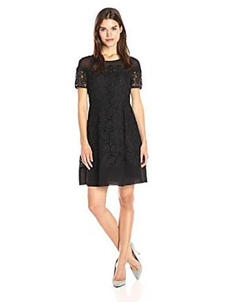 Anne Klein Womens Short Sleeve Crochet Lace Fit & Flare Dress, Black 10