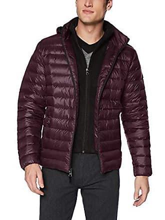 Calvin Klein Mens Packable Down Hoody Jacket, Deep Plum, Large