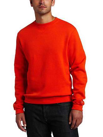 Soffe Mens Training Fleece Crew Sweatshirt, Orange, Large