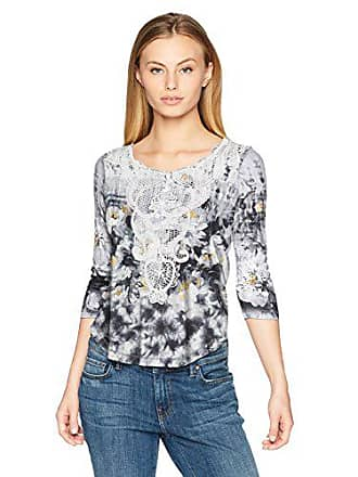 Oneworld Womens Petite 3/4 Sleeve Henley Top with Lace Applique, Contemporary Garden-White, PM