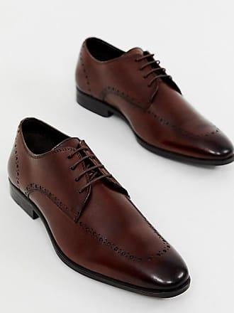 96f61bedd71e2 Asos Chaussures richelieu pointure large en cuir à motif perforé - Marron -  Marron