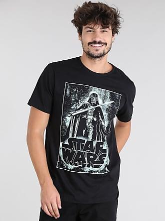 Disney Camiseta Masculina Darth Vader Star Wars Manga Curta Gola Careca Preta