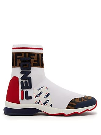 6cfdba4a024f Fendi Mania Ff Logo Sock Boots - Womens - White Multi