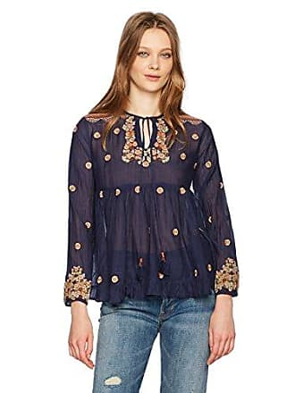 Max Studio Womens Embroidered Rayon Voile Top, Navy X-Small