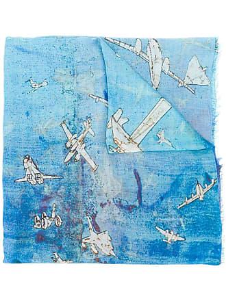 Faliero Sarti aeroplane print scarf - Blue