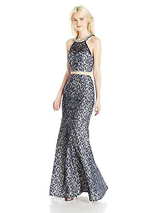 7397836d66590 My Michelle Sequin Hearts Juniors Two Piece Long Prom Dress with All Over  Lace, Navy