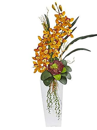 Nearly Natural 1774-YL 3-Ft. Cymbidium Orchid and Succulent Artificial Silk Arrangements Yellow