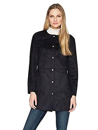 Ellen Tracy Womens Snap Front Reversible Suede Coat, Night Sky, M