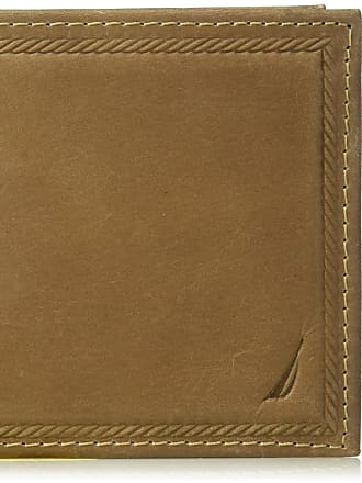 Nautica mens 100% Leather Removeable Passcase Wallet Wallet - brown