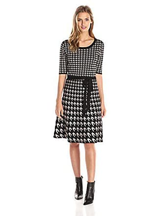 0e8f186ed5c Taylor Dresses Womens Short Sleeve Houndstooth Printed Sweater Dress with  Tie