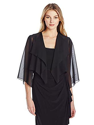Alex Evenings Womens Chiffon Hanky Short Bolero Jacket, Black, Medium