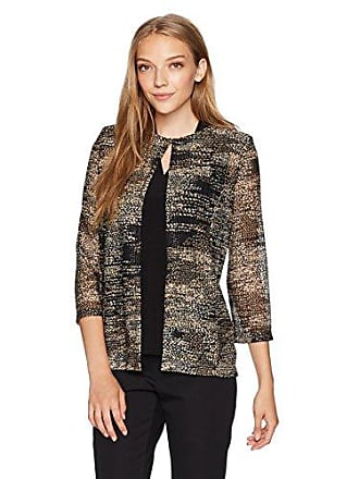 Kasper Womens Petite Open Printed Sweater Jacket, Black/Multi, Small