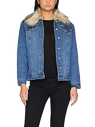 New Look Fur Collar, Veste en Jean Femme, Bleu (Mid Blue 40) 544965ba4334