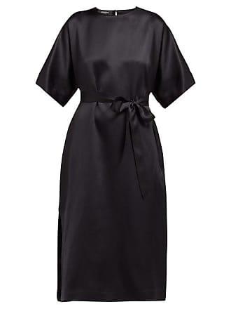Rochas Osprey Silk Satin Midi Dress - Womens - Black