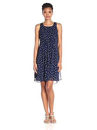 Taylor Dresses Womens Chiffon Dot, Navy/Ivory, 6