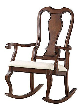 ACME ACME Sheim Beige Fabric and Cherry Rocking Chair