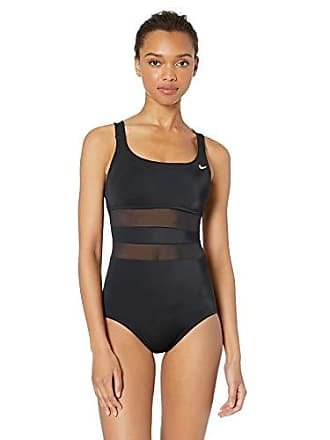 1e68a39d08acd Nike Swim Womens Mesh Solid Edge V-Back One Piece Swimsuit, Black, X
