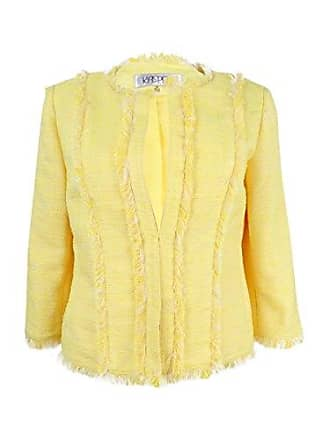 Kasper Womens Petite Size Jewel Neck Tweed Flyaway Jacket, Lemongrass/White 14P
