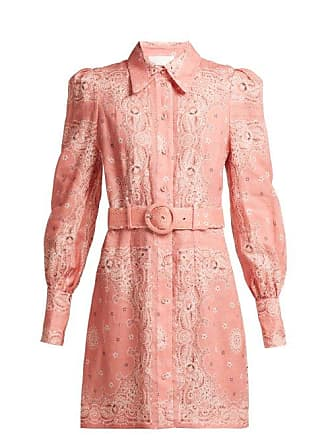 Zimmermann Heathers Bandana Print Linen Shirtdress - Womens - Pink Print