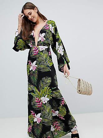 f5e0e14e163 Asos Tall ASOS DESIGN Tall Dark Tropical Palm Print Long Sleeve Plunge  Beach Maxi Dress