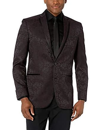 Kenneth Cole Reaction Mens Slim Fit Evening Blazers, Burgundy Paisley, 38R