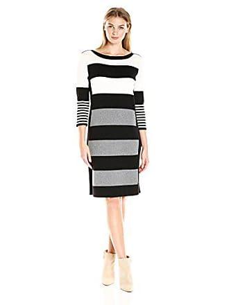 Joan Vass Womens Mluti Stripe Dress, Ivory Combo, Small